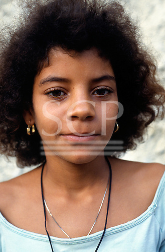 Rio de Janeiro, Brazil. Street children; portrait of a teenage girl at the Sao Martin street children's centre.