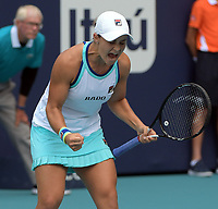 MIAMI GARDENS, FLORIDA - MARCH 30: Ashleigh Barty of Australia defeats Karolina Pliskova of the Czech Republic on day thirteen in the women's finals at the Miami Open at the Hard Rock Stadium on March 30, 2019 in Miami Gardens, Florida.<br /> <br /> <br /> People: Ashleigh Barty