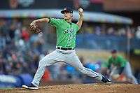 Gwinnett Braves relief pitcher Grant Dayton (54) in action against the Durham Bulls at Durham Bulls Athletic Park on April 20, 2019 in Durham, North Carolina. The Bulls defeated the Braves 11-3 in game one of a double-header. (Brian Westerholt/Four Seam Images)