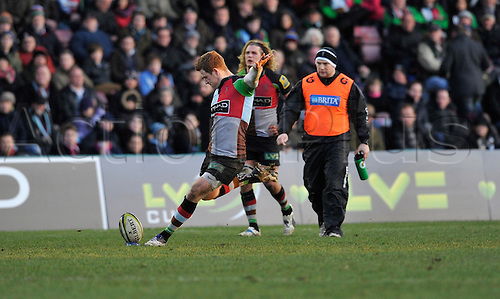 28.1.12. Rugby Union. Rory Clegg of Harlequins kicks a penalty during Harlequins in the third round of the LV= Cup against Leicester Tigers at The Twickenham Stoop, London, England on 28 January 2012