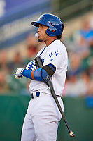 Gersel Pitre (45) of the Ogden Raptors bats against the Great Falls Voyagers at Lindquist Field on August 16, 2017 in Ogden, Utah. The Voyagers defeated the Raptors 11-6. (Stephen Smith/Four Seam Images)