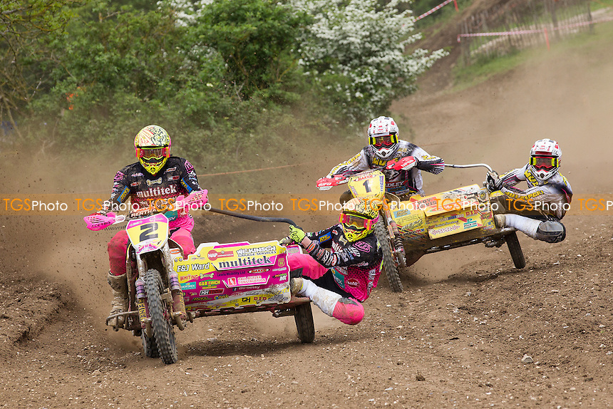 Wilkinson and Kirwin ahead of Brown and Chamberlain early in moto 2 during ACU British Sidecar Cross Championship Round Three at Wattisfield Hall MX Track on 22nd May 2016