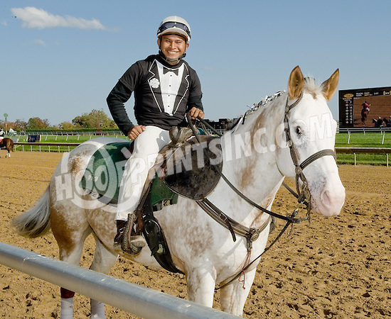 Pedro aboard Miner before The Small Wonder Stakes at Delaware Park on 10/20/12