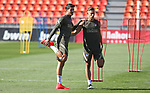 Atletico de Madrid's Alvaro Morata (l) and Marcos Llorente during training session. September 7,2020.(ALTERPHOTOS/Atletico de Madrid/Pool)
