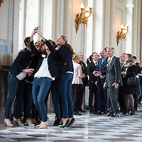 King Philippe and Queen Mathilde of Belgium meet with Belgian athletes - Belgium