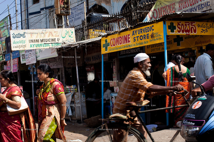 Medical and drug stores open for business in Charminar, a famous landmark monument in Hyderabad, Andhra Pradesh, India on 28 November 2011. Photo by Suzanne Lee for Capa Pictures