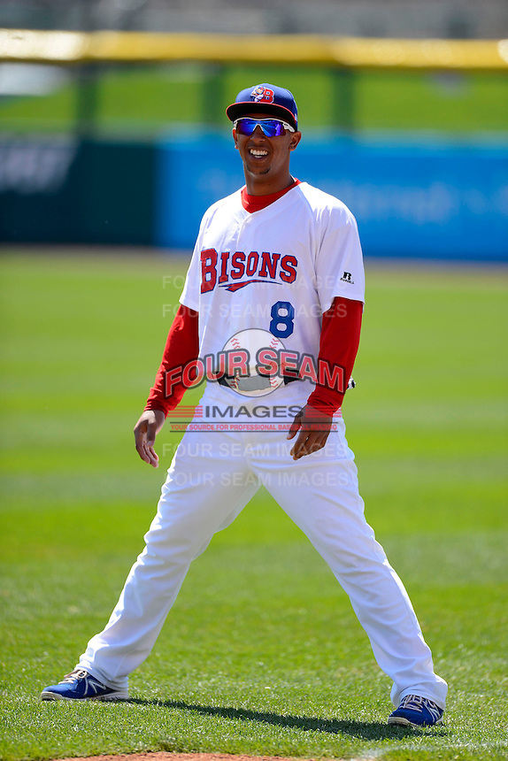 Buffalo Bisons outfielder Anthony Gose #8 during warmups before the first game of a doubleheader against the Pawtucket Red Sox on April 25, 2013 at Coca-Cola Field in Buffalo, New York.  Pawtucket defeated Buffalo 8-3.  (Mike Janes/Four Seam Images)