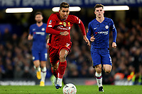 3rd March 2020; Stamford Bridge, London, England; English FA Cup Football, Chelsea versus Liverpool; Roberto Firmino of Liverpool takes on Mason Mount of Chelsea