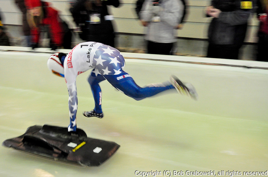 Katie Uhlaender at the 2012 World Bob And Skeleton Championships at Lake Placid, New York