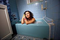 NEW YORK - SUNDAY NEWS:  Brooklyn artist Siobhan O'Loughlin inside of her most recent performance space, Astoria, Queens, NY, Friday, January 27, 2017.  Using a stranger's bathtub as her performance space, O'Loughlin performs an interactive show naked called, &quot;Broken Bone Bathtub,&quot; .<br /> <br /> PICTURED:  <br /> <br /> (Angel Chevrestt, 646.314.3206)