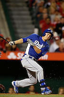 Joc Pederson of the Los Angeles Dodgers bats against the Los Angeles Angels in both teams final spring training game at Angel Stadium on March 30, 2013 in Anaheim, California. (Larry Goren/Four Seam Images)