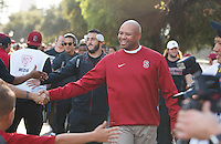 """Stanford-October 10, 2014: David Shaw, head coach during """"The Walk"""" before Stanford vs. Washington State game Friday night at Stanford Stadium.<br /> <br /> The Cardinal defeated the Cougars 34-17."""