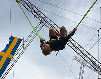 Guy in a rope jumping area