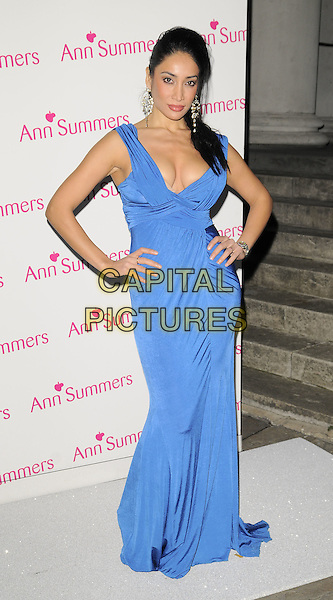 SOFIA HAYAT.The Ann Summers Enchantment Collection launch party, The Baccarat Room, 1 Marylebone Rd., London, England..December 1st, 2008.anne full length long maxi dress whip hands on hips cleavage blue ruched sophia.CAP/CAN.©Can Nguyen/Capital Pictures.