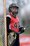 GER - Mainz, Germany, March 20: During the 1. Bundesliga Damen lacrosse match between Mainz Musketeers (white) and SC Frankfurt 1880 (red) on March 20, 2016 at Sportgelaende Dalheimer Weg in Mainz, Germany. Final score 7-12 (HT 3-5). (Photo by Dirk Markgraf / www.265-images.com) *** Local caption *** Celina Aniolek #40 of SC Frankfurt 1880