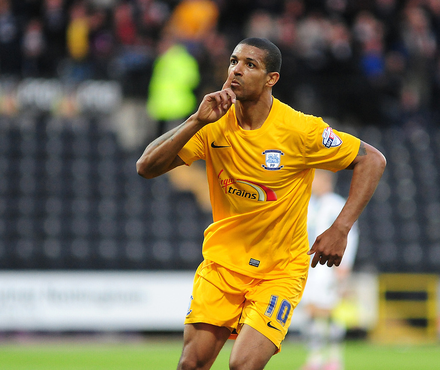 Preston North End's Jermaine Beckford celebrates scoring his sides first goal <br /> <br /> Photographer Andrew Vaughan/CameraSport<br /> <br /> Football - The Football League Sky Bet League One - Notts County v Preston North End - Tuesday 21st April 2015 - Meadow Lane - Nottingham<br /> <br /> &copy; CameraSport - 43 Linden Ave. Countesthorpe. Leicester. England. LE8 5PG - Tel: +44 (0) 116 277 4147 - admin@camerasport.com - www.camerasport.com