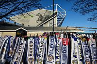 Scarves for sale outside Elland Road, home of Leeds United<br /> <br /> Photographer Alex Dodd/CameraSport<br /> <br /> The EFL Sky Bet Championship - Leeds United v Middlesbrough - Saturday 30th November 2019 - Elland Road - Leeds<br /> <br /> World Copyright © 2019 CameraSport. All rights reserved. 43 Linden Ave. Countesthorpe. Leicester. England. LE8 5PG - Tel: +44 (0) 116 277 4147 - admin@camerasport.com - www.camerasport.com