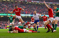 Wales' Hadleigh Parkes scores his sides first try<br /> <br /> Photographer Bob Bradford/CameraSport<br /> <br /> Guinness Six Nations Championship - Wales v Ireland - Saturday 16th March 2019 - Principality Stadium - Cardiff<br /> <br /> World Copyright © 2019 CameraSport. All rights reserved. 43 Linden Ave. Countesthorpe. Leicester. England. LE8 5PG - Tel: +44 (0) 116 277 4147 - admin@camerasport.com - www.camerasport.com