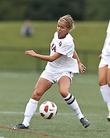 Harvard University midfielder/Defender Peyton Johnson (14) controls the ball. In overtime, Harvard University defeated Yale University,1-0, at Soldiers Field Soccer Stadium, on September 29, 2012.