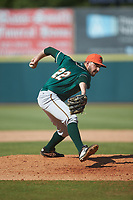Greensboro Grasshoppers relief pitcher Joe Jacques (22) in action against the Hickory Crawdads at L.P. Frans Stadium on May 26, 2019 in Hickory, North Carolina. The Crawdads defeated the Grasshoppers 10-8. (Brian Westerholt/Four Seam Images)