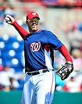 6 March 2010: Washington Nationals' first baseman Adam Dunn warms up prior to a Spring Training game against the New York Mets at Space Coast Stadium in Viera, Florida. The Mets defeated the Nationals 14-6 in Grapefruit League action. Mandatory Credit: Ed Wolfstein Photo