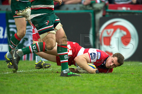 16.4.2011. Aviva Premiership Rugby...Tim Molenaar of Gloucester Rugby scores a try during the Leicester Tigers and Gloucester Rugby playing in round 20 at Welford Road, Leicester, England on 16 April 2011.