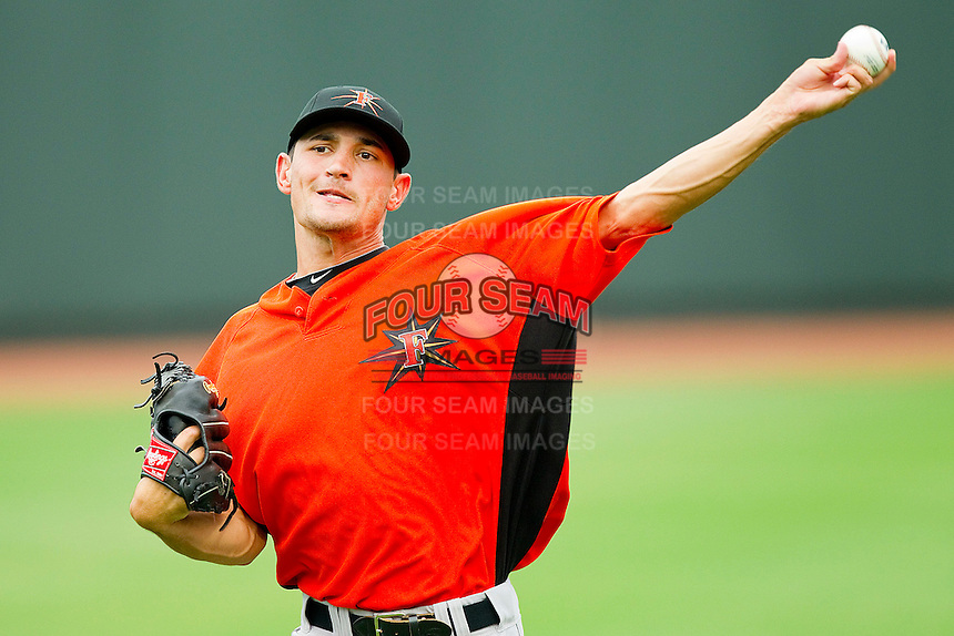 Pitcher Jason Gurka #36 of the Frederick Keys warms up in the outfield prior to the game against the Winston-Salem Dash at BB&T Ballpark on August 5, 2011 in Winston-Salem, North Carolina.  The Dash defeated the Keys 10-0.   Brian Westerholt / Four Seam Images