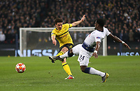 Thomas Delaney of Borussia Dortmund with a first half shot<br /> <br /> Photographer Rob Newell/CameraSport<br /> <br /> UEFA Champions League Round of 16 First Leg - Tottenham Hotspur v Borussia Dortmund - Wednesday 13th February 2019 - Wembley Stadium - London<br />  <br /> World Copyright © 2018 CameraSport. All rights reserved. 43 Linden Ave. Countesthorpe. Leicester. England. LE8 5PG - Tel: +44 (0) 116 277 4147 - admin@camerasport.com - www.camerasport.com