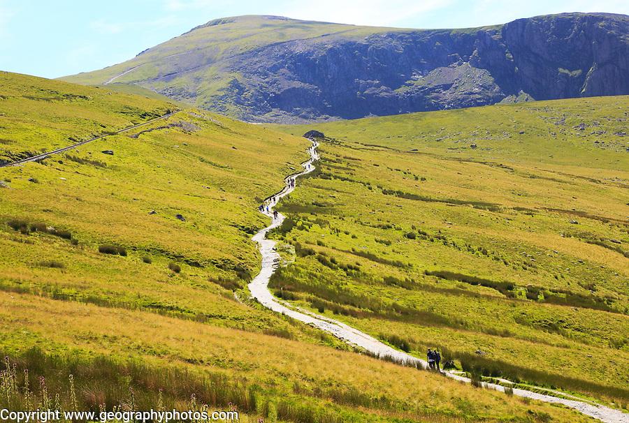 Upland landscape view towards summit, Mount Snowdon, Gwynedd, Snowdonia, north Wales, UK