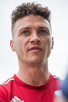 James Chester during a Wales media day ahead of the final pre Euro 2016 friendly match against Sweden, Vale Resort, Hensol, Wales on 1 June 2016. Photo by Mark  Hawkins / PRiME Media Images / PRiME Media Images.