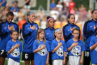 Kansas City, MO - Saturday May 07, 2016: FC Kansas City midfielders Mandy Laddish (7), Jen Buczkowski (6), defender Desiree Scott (3), forward Shea Groom (2), and goalkeeper Nicole Barnhart (18) during the national anthem before a regular season National Women's Soccer League (NWSL) match at Swope Soccer Village. Houston won 2-1.