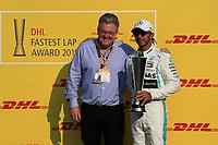 1st December 2019; Yas Marina Circuit, Abu Dhabi, United Arab Emirates; Formula 1 Abu Dhabi Grand Prix, race day; Mercedes AMG Petronas Motorsport, Lewis Hamilton wins the DHL fastest lap award - Editorial Use