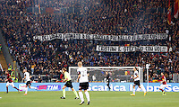 Calcio, Serie A: Roma vs Cesena. Roma, stadio Olimpico, 29 ottobre 2014.<br /> Roma fans show banner dedicated to Stefano De Amicis and his 7-years-old son Cristian, both dead in a road accident as they were returning back home at the end of the of the Campions League match against Bayern on last 21, during the Italian Serie A football match between AS Roma and Cesena at Rome's Olympic stadium, 29 October 2014.<br /> UPDATE IMAGES PRESS/Riccardo De Luca