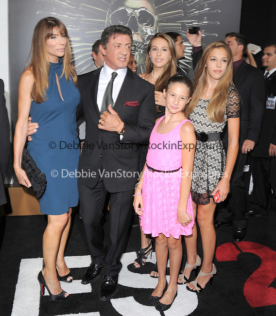 Sylvester Stallone and family at Lionsgate World Premiere of The Expendables 2 held at The Grauman's Chinese Theatre in Hollywood, California on August 15,2012                                                                               © 2012 Hollywood Press Agency