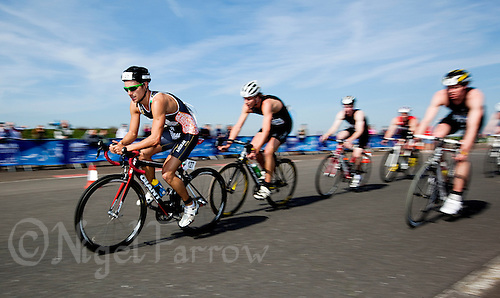 25 MAR 2012 - LOUGHBOROUGH, GBR - Lawrence Fanous (Jordan Triathlon) leads a pack on the bike during the men's  2012 British Elite Duathlon Championship race at Prestwold Hall Airfield in Prestwold near Loughborough, Great Britain (PHOTO (C) 2012 NIGEL FARROW)