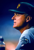 Oakland Athletics Manager Art Howe during a game at Anaheim Stadium in Anaheim, California during the 1997 season.(Larry Goren/Four Seam Images)