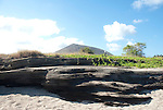lava layers in santiago island landscape galapagos