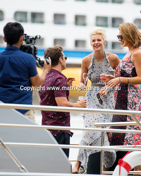 12 FEBRUARY 2017 SYDNEY AUSTRALIA<br /> WWW.MATRIXPICTURES.COM.AU<br /> <br /> EXCLUSIVE PICTURES<br /> <br /> Matthew Johnson (Matty J) pictured with fellow Bachelor alumni Cameron Cranley and Sam Johnston aboard Ghost II for a cruise around the harbour. Matty had an animated conversation with Kate Peck and Joanna Pretyman.<br /> <br /> Note: All editorial images subject to the following: For editorial use only. Additional clearance required for commercial, wireless, internet or promotional use.Images may not be altered or modified. Matrix Media Group makes no representations or warranties regarding names, trademarks or logos appearing in the images.
