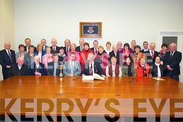 Killarney Mayor Cllr Sean O'Grady pictured with the choir of St Marys Cathdral, Killarney as he hosted a civic reception in their honour in the council chamber on Monday night.