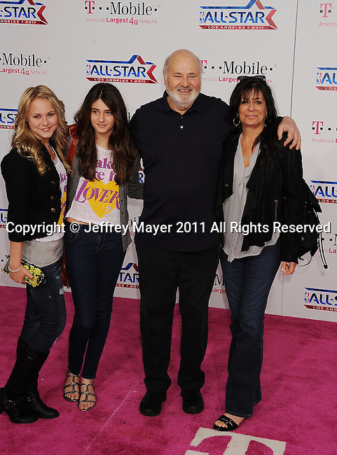 LOS ANGELES, CA - FEBRUARY 20: Rob Reiner and family arrive at the T-Mobile Magenta Carpet at the 2011 NBA All-Star Game at L.A. Live on February 20, 2011 in Los Angeles, California.