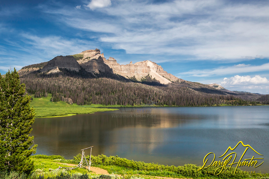 Pinnacle Buttes crown the horizon of Brooks Lake in the Absoraka Mountains of the Shoshone National Forest west of Dubois Wyoming. Good fishing, good hiking, great grizzly bear country - take your bear spray