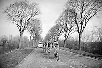 Frederik Veuchelen (BEL/Wanty-GroupeGobert) leading the breakaway group up the Casselberg<br /> <br /> Gent-Wevelgem 2014