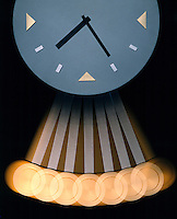 PENDULUM CLOCK - stroboscopic<br /> Modern Wall Clock<br /> The images of the pendulum appear farther apart at the bottom because the bob moves faster at the bottom of the swing and slows down at the top of the swing. Strobed at equal time intervals (20flashes/sec).