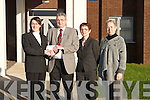 HOSPICE: Fiona Lally, Chairperson Kerry Choral Union, and Lesley Clarke, Secretary Kerry Choral Union, presented a cheque for 1,000 to Ted Moynihan of Kerry Hospice Foundation on Monday at the Kerry Hospice Building, Kerry General Hospital. Also in picture in Margie Lynch, Manager KGH.