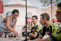 Coffee for Mikel Nieve (ESP/Mitchelton-Scott) &amp; friends<br /> Team Mitchelton-Scott going for a coffee-ride<br /> <br /> D-1: last preperations 1 day before the start of the race<br /> <br /> Le Grand D&eacute;part 2018<br /> 105th Tour de France 2018<br /> &copy;kramon