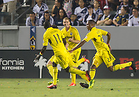 CARSON, CA - July 4, 2013: Columbus Crew defender Josh Williams (3) celebrates his goal during the LA Galaxy vs Columbus Crew match at the StubHub Center in Carson, California. Final score, LA Galaxy 2, Columbus Crew 1.