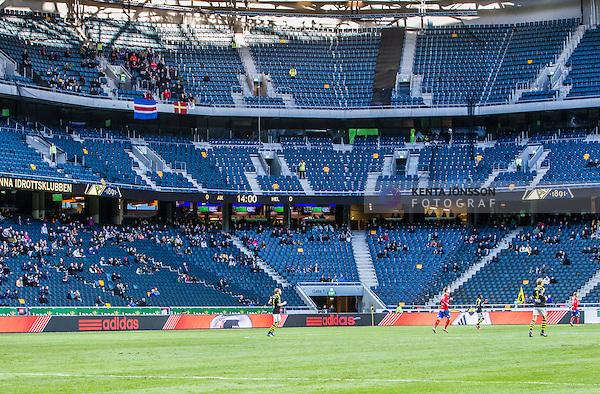 Solna 2014-05-05 Fotboll Allsvenskan AIK - Helsingborgs IF :  <br /> Vy &ouml;ver planen i Friends Arena med tomma sektioner p&aring; l&auml;ktarna runt Helsingborgs supportrar p&aring; &ouml;vre etage<br /> (Foto: Kenta J&ouml;nsson) Nyckelord:  Friends Arena AIK Gnaget HeIF HIF Helsingborg supporter fans publik supporters inomhus interi&ouml;r interior