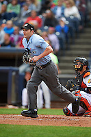 Umpire Blake Felix during a game between the New Britain Rock Cats and Akron RubberDucks on May 21, 2015 at Canal Park in Akron, Ohio.  Akron defeated New Britain 4-2.  (Mike Janes/Four Seam Images)