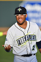 Center fielder Desmond Lindsay (2) of the Columbia Fireflies before a game against the Lexington Legends on Saturday, April 22, 2017, at Spirit Communications Park in Columbia, South Carolina. Lexington won, 4-0. (Tom Priddy/Four Seam Images)