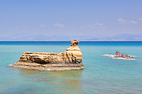 Rock formations in Sidari at Corfu, Greece